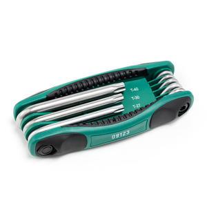 09123 世达 8件折叠式中孔花形扳手组套 1箱24.0套 1盒6.0套